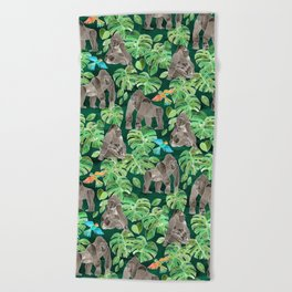 Gorillas in the Emerald Forest Beach Towel
