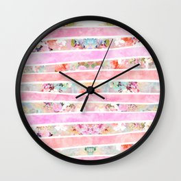 Modern floral watercolor girly pastel pink stripes Wall Clock