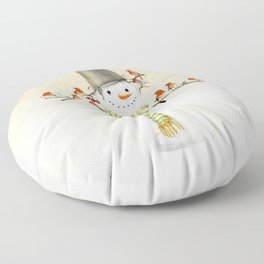 Snowman and Birds Floor Pillow