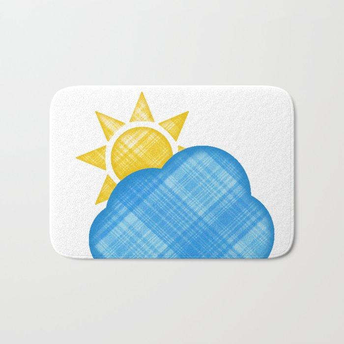 Cloud with sun emoji in plaid Bath Mat by lizduer
