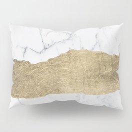 Elegant faux gold foil gray white modern marble Pillow Sham