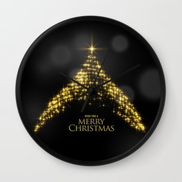 Gold Sparkle Wish You A Merry Christmas Tree Wall Clock