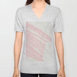 Blush pink white blue watercolor crayon strokes pattern Unisex V-Neck