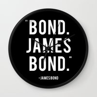 bond Wall Clocks featuring Bond James Bond Quote by Chris Bergeron