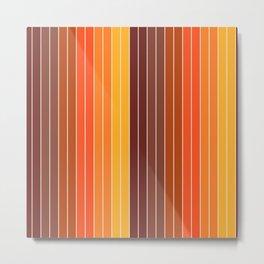 70's Graphic Stripes in Orange Ombre Metal Print