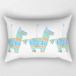 Mexican Donkey Piñata – Blue & Gold Palette Rectangular Pillow