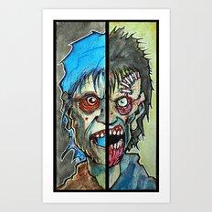 Two Half Zombie Art Print
