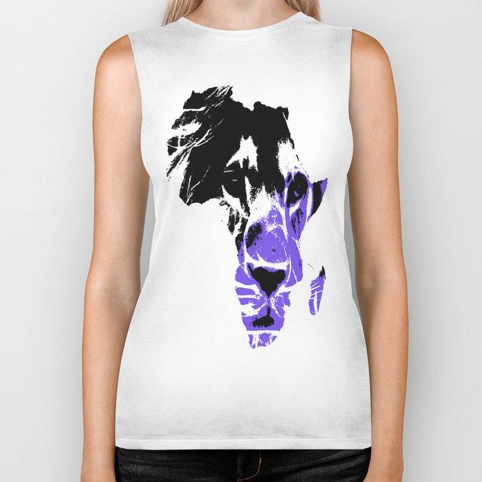 Africa Lion : Purple Biker Tank