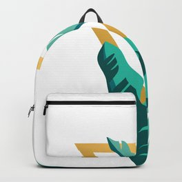 Tropical leafs with golden triangle Backpack