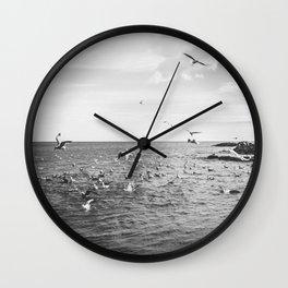 Irish bay and flying seagulls Wall Clock