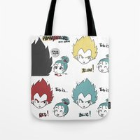 vegeta Tote Bags featuring Primary Colors with Vegeta by AlyTheKitten