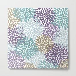 Floral Pattern, Purple, Teal, Gold Metal Print
