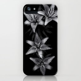 Backyard Flowers In Black And White 7 iPhone Case