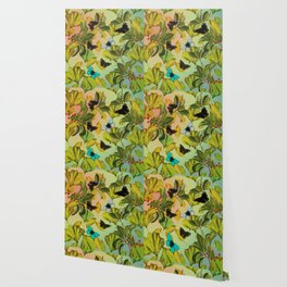 Vintage Ginkgo Leaves and Butterflies Wallpaper