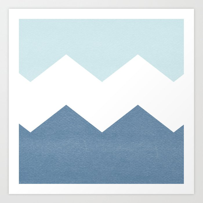 BLUE BLOCK CHEVRON Art Print