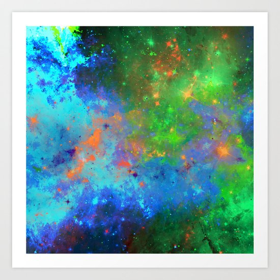 Speed Of Light - Abstract space painting Art Print