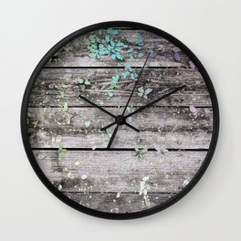 Planks and leaves Wall Clock