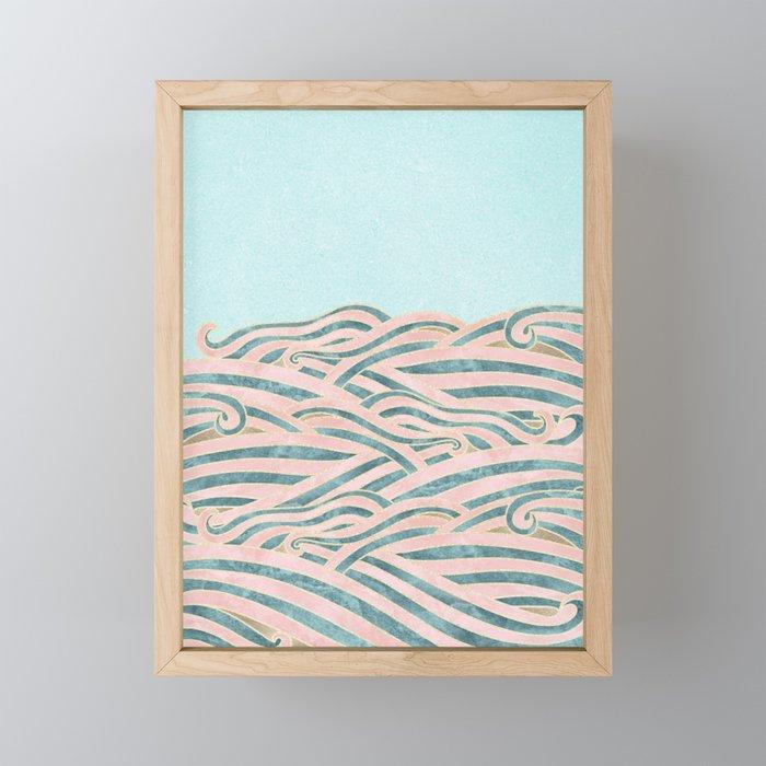 Framed Beach Wall Art.Venetian Waves Vintage Abstract Pink Blue And Gold Summer Illustration Digital Beach Wall Decor Framed Mini Art Print By Surfxsun