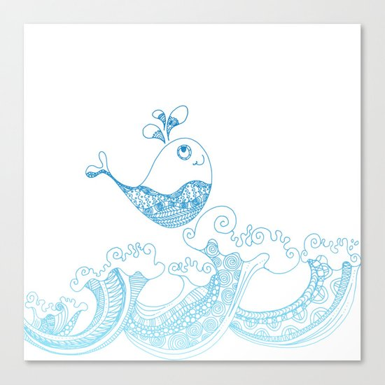 Doodle fish jumping out of the water- Maritime Sea Animal Canvas Print