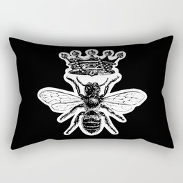 Queen Bee | Vintage Bee with Crown | Black and White | Rectangular Pillow