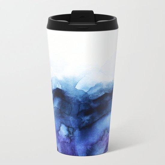 Abstract Indigo Purple Mountians Metal Travel Mug