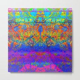 Bright Rainbow Colored Half Mandala Design Metal Print
