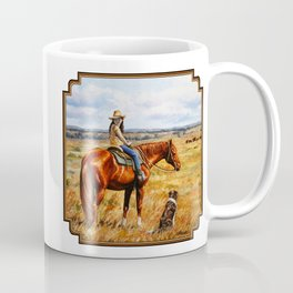 Young Cowgirl on Cattle Horse Coffee Mug