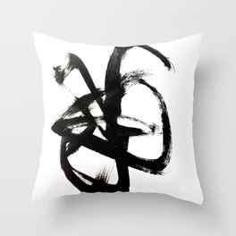 Brushstroke 4 - a simple black and white ink design Throw Pillow
