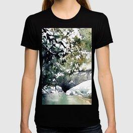 Running water down below in the dark, frozen forest T-shirt