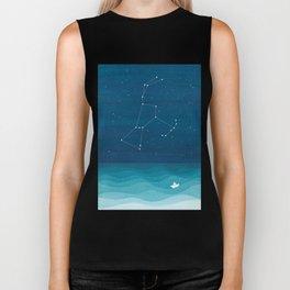 Orion Constellation, teal ocean sailboat illustration Biker Tank