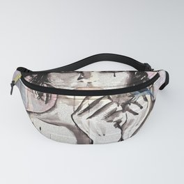 Ponja ~ Ink painting over vintage book's pages Fanny Pack