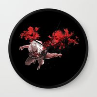 tokyo ghoul Wall Clocks featuring Kaneki Tokyo Ghoul 5 by Prince Of Darkness