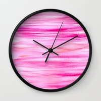 hot pink Wall Clocks featuring Hot pink by Retro Love Photography