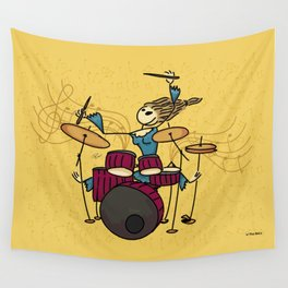 Crazy drummer Wall Tapestry