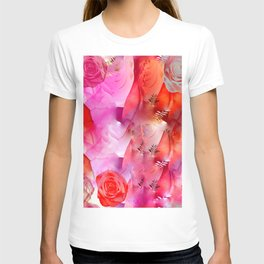Floating Pink & Soft Red Roses & Gold Leaves T-shirt