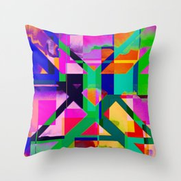 """""""The X"""" Abstract- Vibrant Multi-Color Design Throw Pillow"""