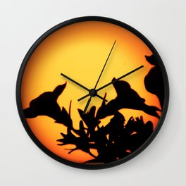 Flower Silhouettes Wall Clock