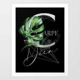 Carpe Diem – Inspiring quote in silver Art Print