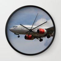 scandinavian Wall Clocks featuring Scandinavian Airlines Boeing 737 by David Pyatt