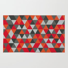 Hot Red and Grey / Gray -  Geometric Triangle Pattern Rug