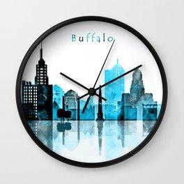 Buffalo Monochrome Blue Skyline Wall Clock