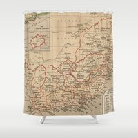 south africa Shower Curtains featuring Vintage Map of South Africa (1880) by BravuraMedia