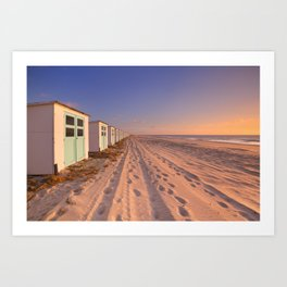 Row of beach huts at sunset, Texel island, The Netherlands Art Print