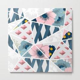Colorful Geometric Flowers Pattern Metal Print