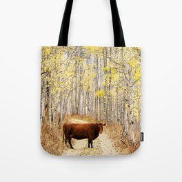 Cow in aspens Tote Bag
