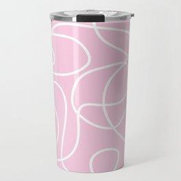 Doodle Line Art | White Lines on Baby Pink Travel Mug