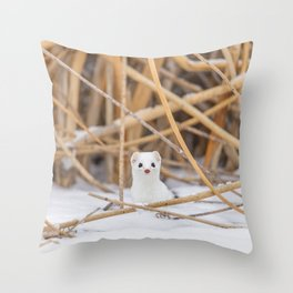 Snowy Ermine Throw Pillow