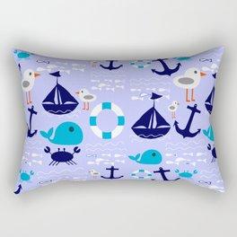 Summer boat light blue Rectangular Pillow