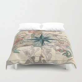 Compass Graphic with an ancient Constellation Map Duvet Cover