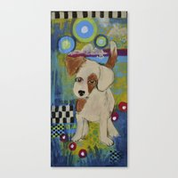 jack russell Canvas Prints featuring jack russell by whimsyville
